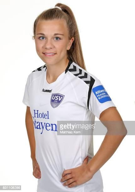 Annika Graser of FF USV Jena poses during the Allianz Frauen Bundesliga Club Tour at Ernst Abbe Sportfeld on August 11 2017 in Jena Germany