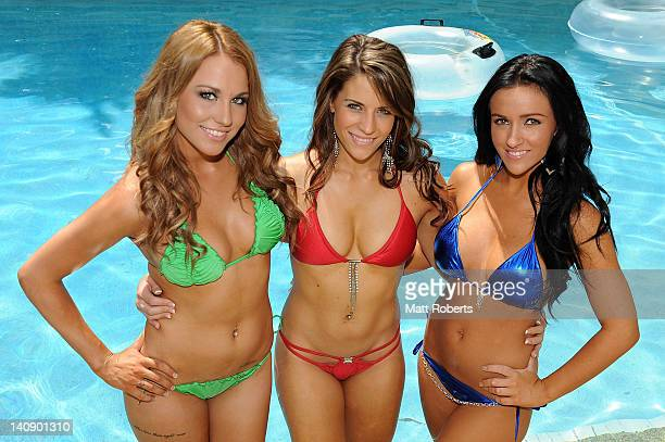 R Annika Jade Talbot from Adelaide Kayla Steele from Annas Inn and Sarah Page from the Gold Coast pose at the Miss Hawaiian Tropic Australian Pageant...