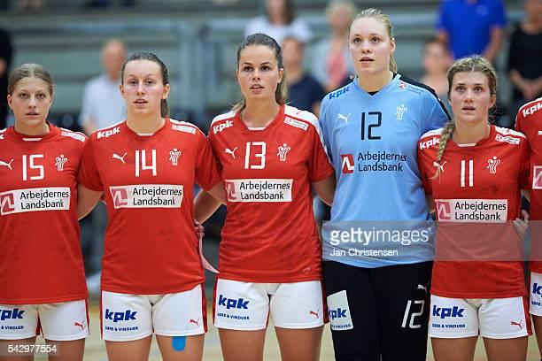 Annika Jakobsen of Denmark Mai Kragballe of Denmark Sofie Flader of Denmark Goalkeeper Ida Vium of Denmark and Stine Holm of Denmark during lineup...
