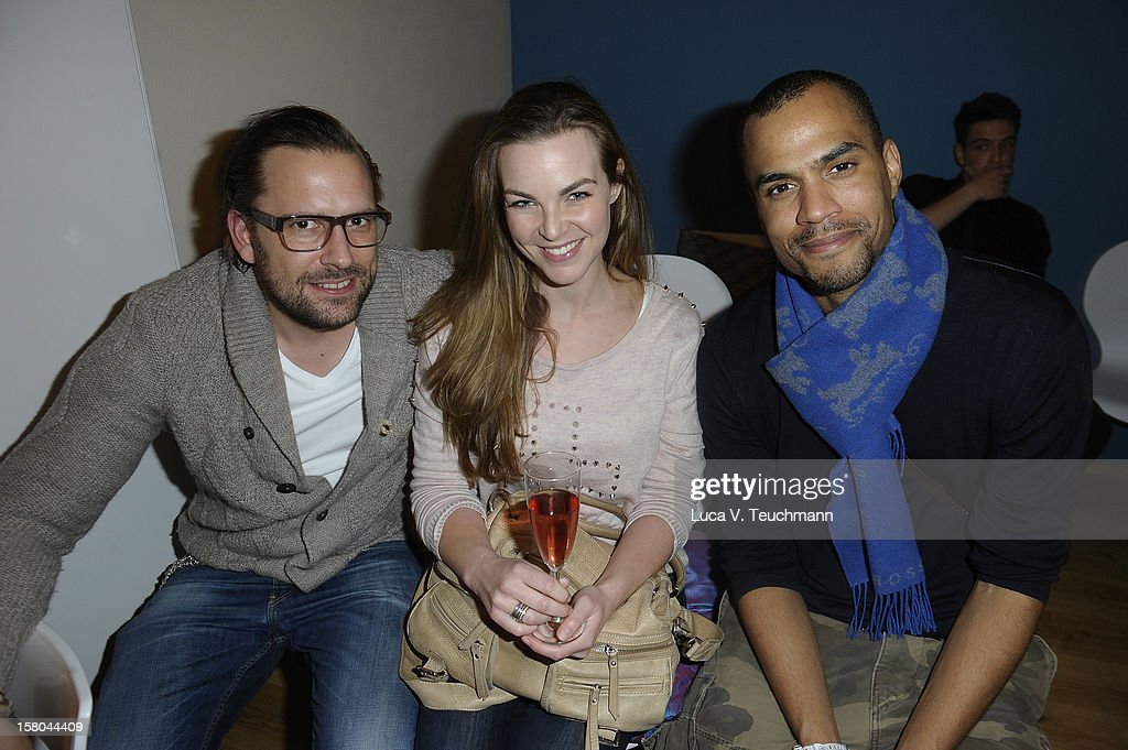 Annika Kipp; Kai Schmidt and Patrice Bouedibela arrives for the Cassandra Steen Performs Unplugged Private Listening on December 9, 2012 in Berlin, Germany.