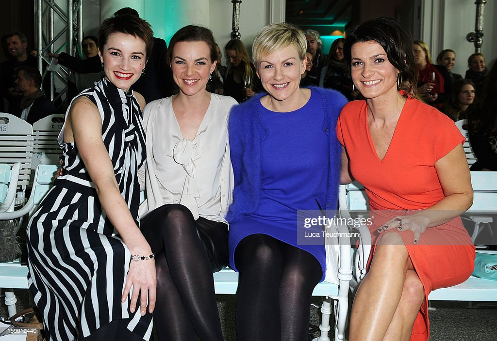 Annika Kipp, Karen Heinrichs and Marlene Lufen attend Marc Cain Autumn/Winter 2013/14 fashion show during Mercedes-Benz Fashion Week Berlin at Hotel de Rome on January 17, 2013 in Berlin, Germany.