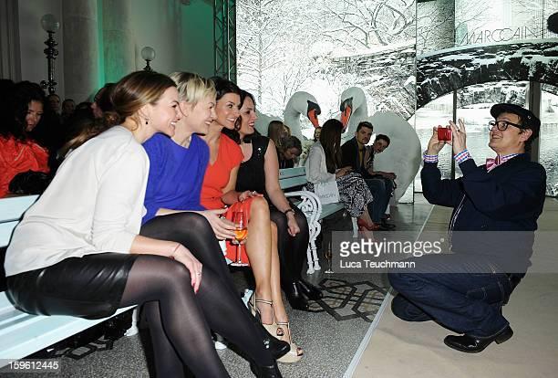 Annika Kipp Karen Heinrichs and Marlene Lufen attend Marc Cain Autumn/Winter 2013/14 fashion show during MercedesBenz Fashion Week Berlin at Hotel de...