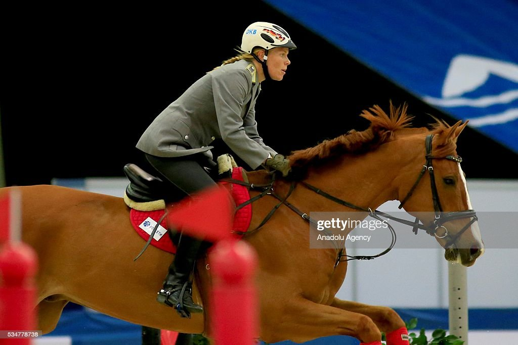 Annika Schleu of Germany competes during the riding discipline of the women's final at the modern pentathlon world championships in Moscow, Russia, on May 27, 2016.