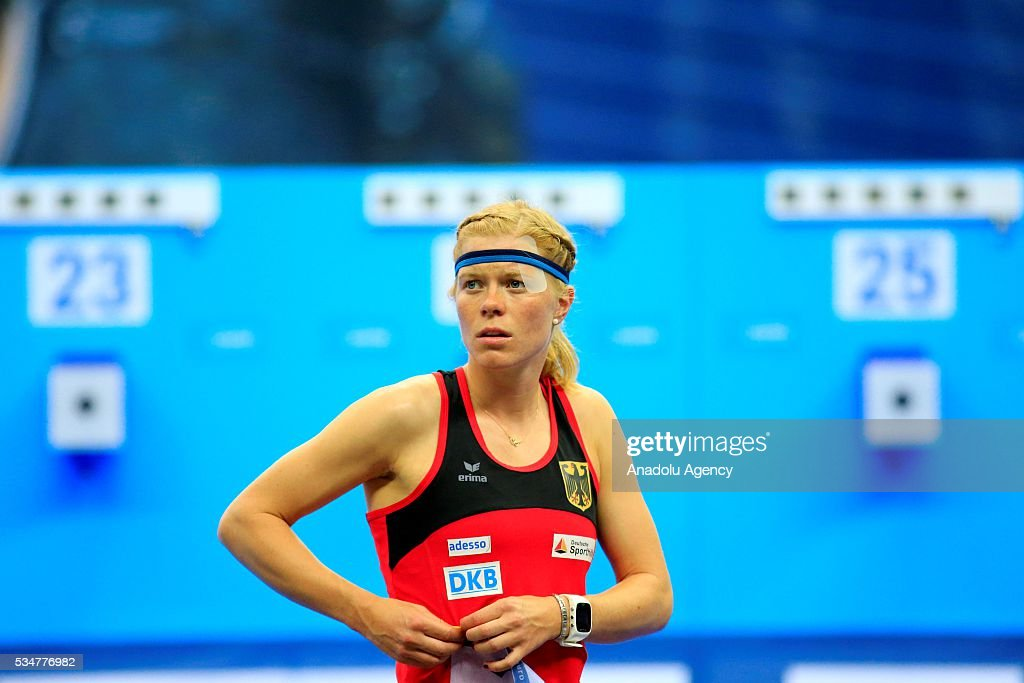 Annika Schleu of Germany is seen before the women's final at the UIPM senior modern pentathlon world championships in Moscow, Russia, on May 27, 2016.