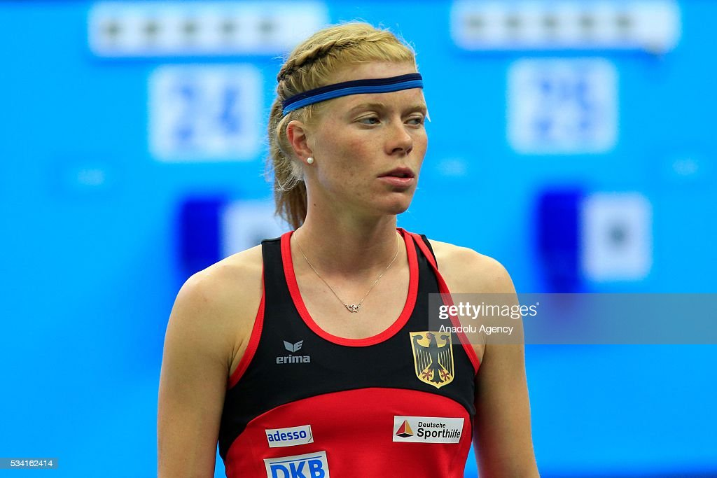 Annika Schleu of Germany is seen during the Combined of the Women Qualifications at the UIPM senior modern pentathlon world championships in Moscow, Russia, on May 25, 2016.