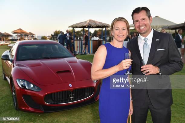 Annika Sorenstam and Mike McGee attend The Costa Smeralda Invitational Gala Dinner at Cala di Volpe Hotel Costa Smeralda on June 17 2017 in Olbia...