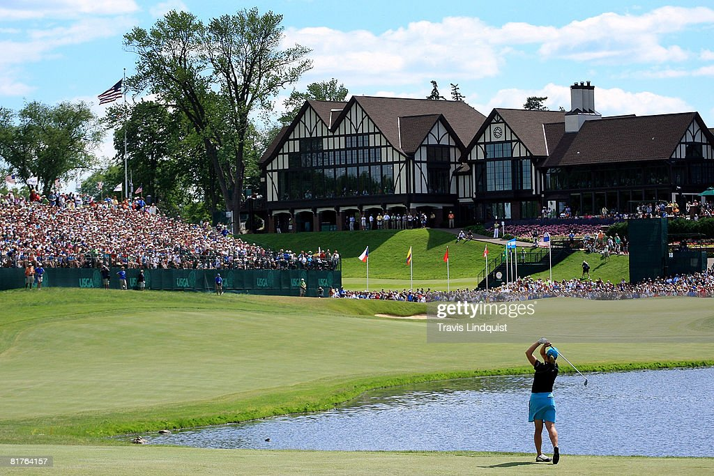 Annika Sorenstam of Sweden hits her third shot on the 18th hole to make eagle during the final round of the 2008 US Women's Open at Interlachen...