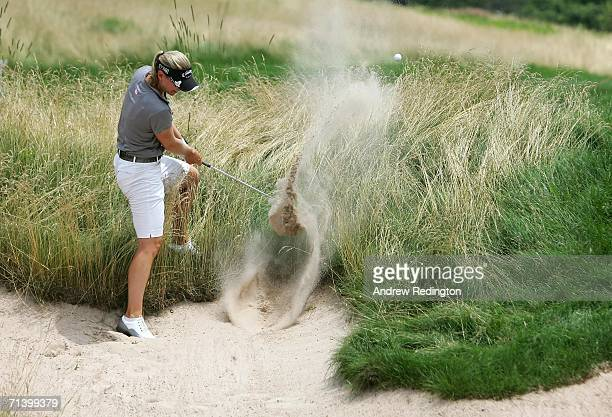 Annika Sorenstam of Sweden plays a shot from a fairway bunker during the Quarterfinals of the HSBC Women's World Match Play Championship on July 8...