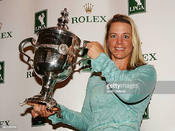 Annika Sorenstam of Sweden poses with the 2005 Rolex Player of the Year trophy during the 2005 LPGA awards reception at the MaraLago Club on November...
