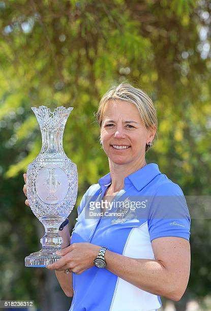 Annika Sorenstam of Sweden poses with the Solheim Cup after the press conference to announce her as the 2017 European Solheim Cup Captain held during...
