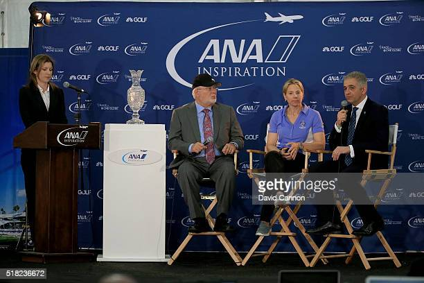 Annika Sorenstam of Sweden talks to the media watched by John Solheim the Chairman and CEO of Ping and Ivan Khodabakhsh the CEO of the Ladies...