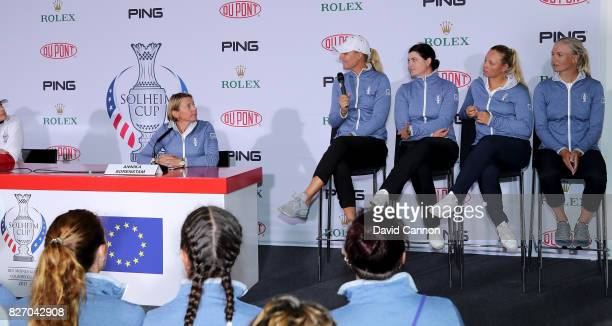 Annika Sorenstam of Sweden the European Team Captain introduces her four captain's picks Anna Nordqvist of Sweden Caroline Masson of Germany Emily...