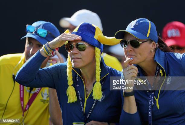 Annika Sorenstam of Sweden the European Team captain with Maria McBride of Sweden one of her assistant captains on the first tee during the final day...