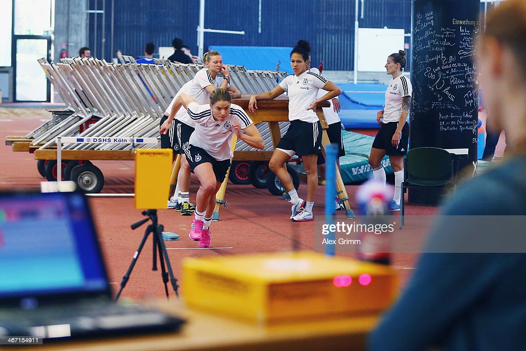 Annike Krahn exercises during a performance test of the German women's national team at Sporthochschule on February 6 2014 in Cologne Germany