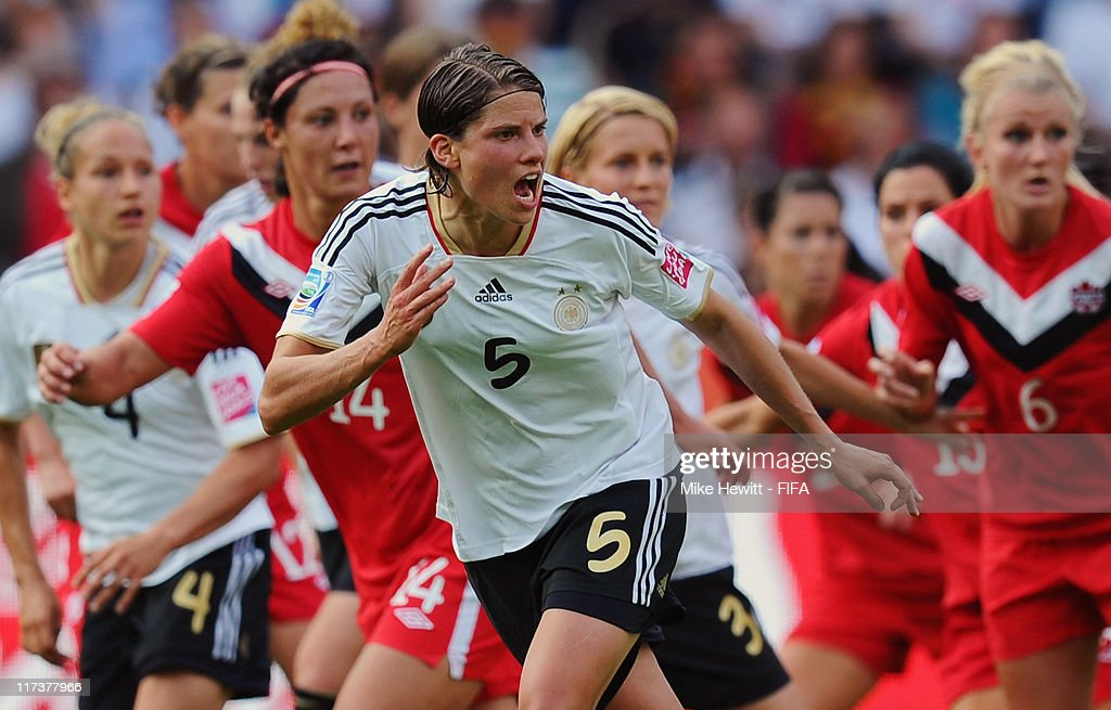 Annike Krahn of Germany in action during the FIFA Women's World Cup 2011 Group A match between Germany and Canada at Olympic Stadium on June 26 2011...