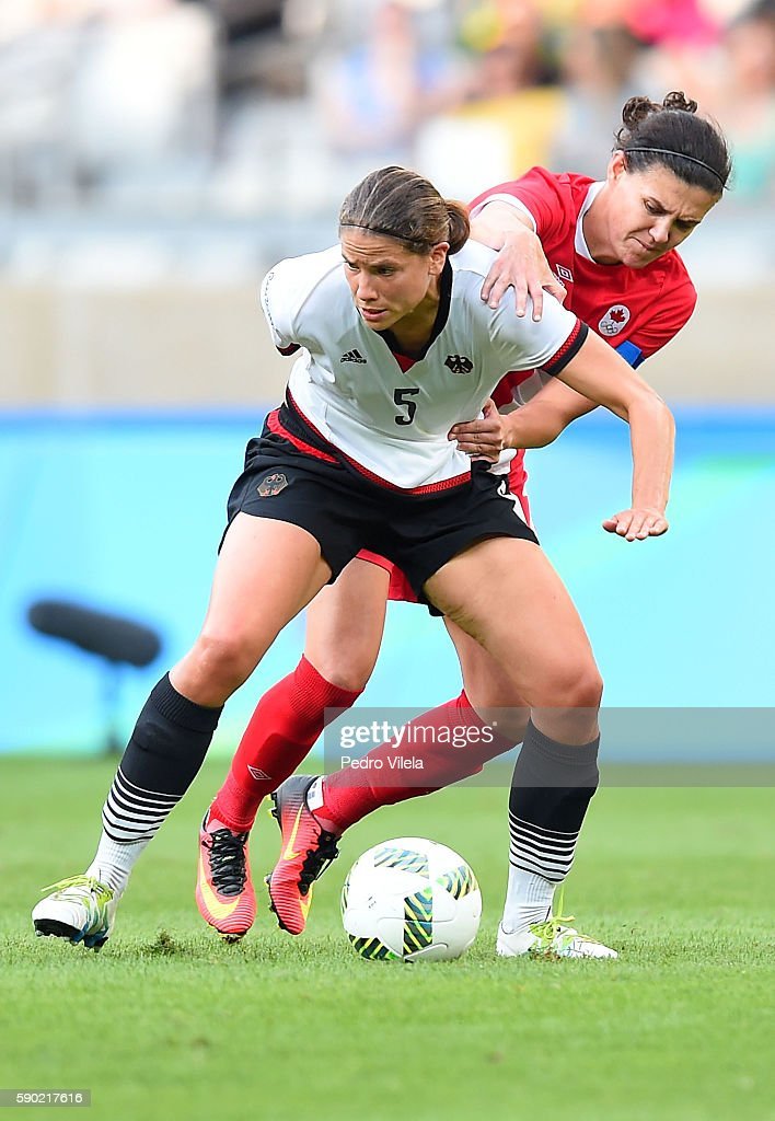 Annike Krahn of Germany in action during the Women's Semi Final match between Germany and Canada on Day 11 of the Rio 2016 Olympic Games at Mineirao...