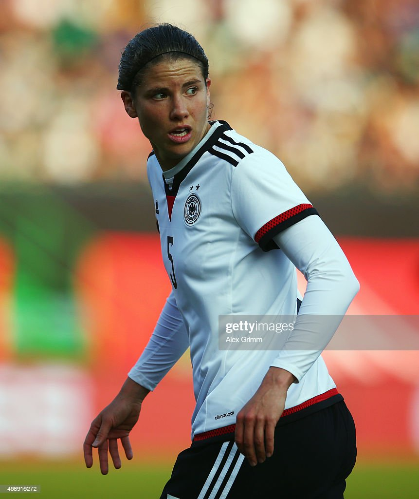 Annike Krahn of Germany reacts during the Women's International Friendly match between Germany and Brazil at TrolliArena on April 8 2015 in Fuerth...
