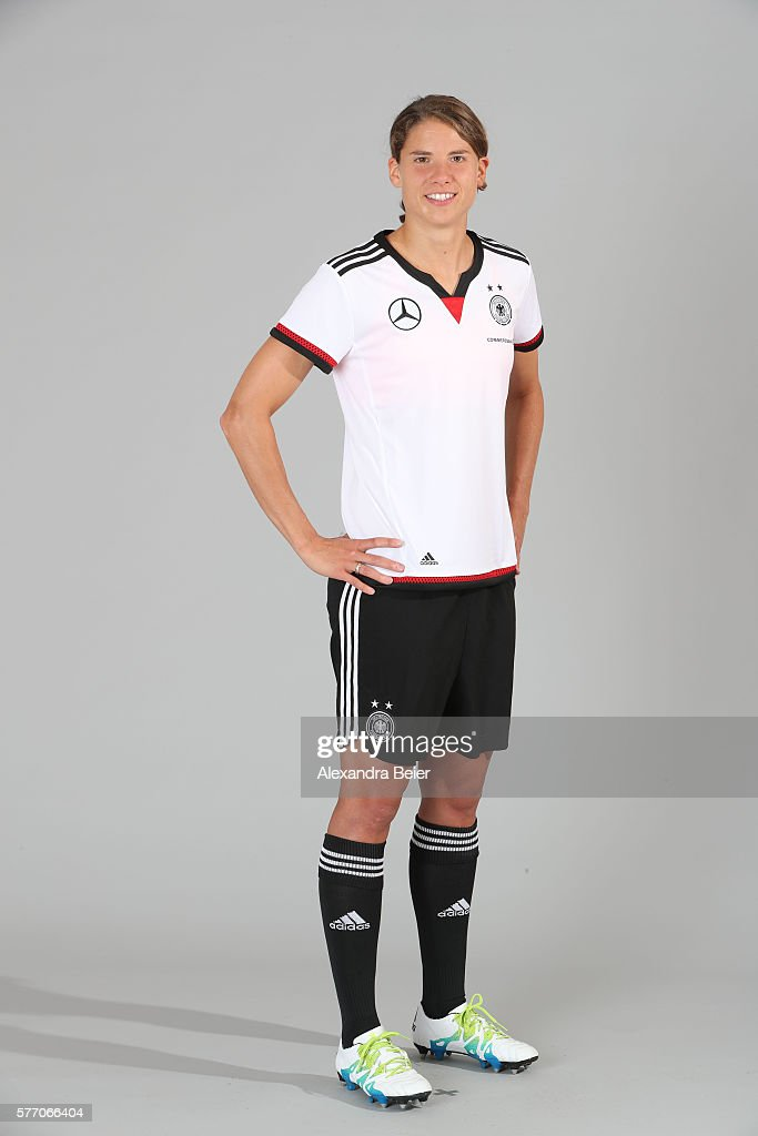 Annike Krahn of the German women's national football team poses during the team presentation on June 21, 2016 in Grassau, Germany.