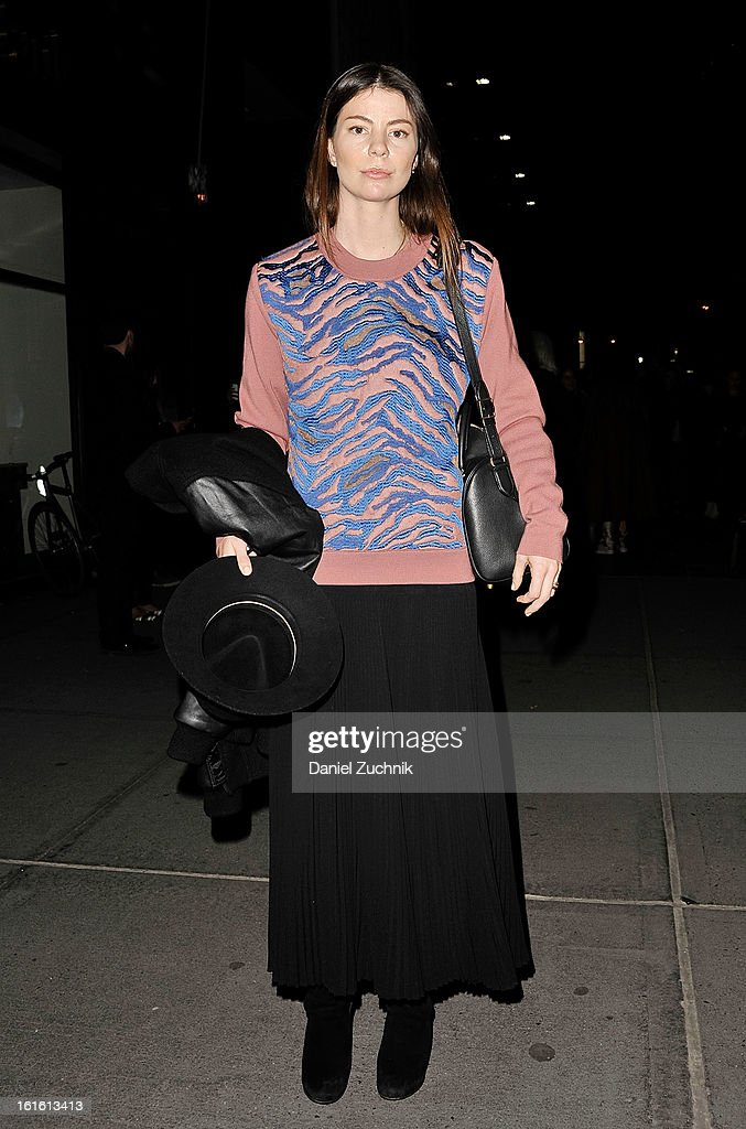 Annina Mislin, a fashion editor, seen outside the Oscar de la Renta show wearing a Balenciaga sweater, Rag and Bone hat, Public Label jacket, and Celine bag and shoes on February 12, 2013 in New York City.