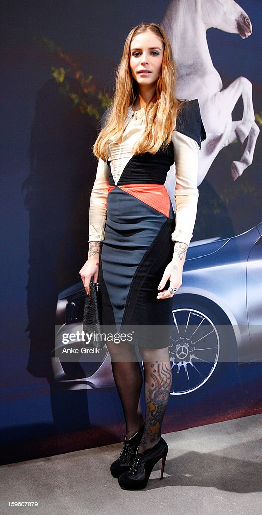 Annina Roescheisen wearing Unrath& Strano dress attends Mercedes-Benz Fashion Week Autumn/Winter 2013/14 at the Brandenburg Gate on January 17, 2013 in Berlin, Germany.