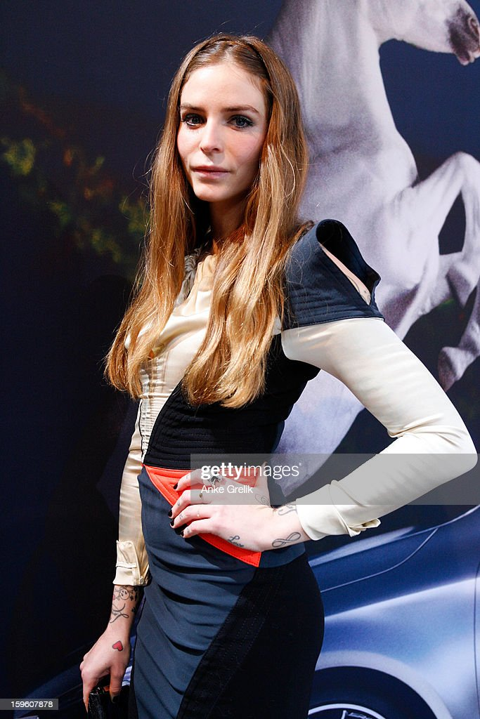Annina Roescheisen wearing Unrath&Strano dress attends Mercedes-Benz Fashion Week Autumn/Winter 2013/14 at the Brandenburg Gate on January 17, 2013 in Berlin, Germany.