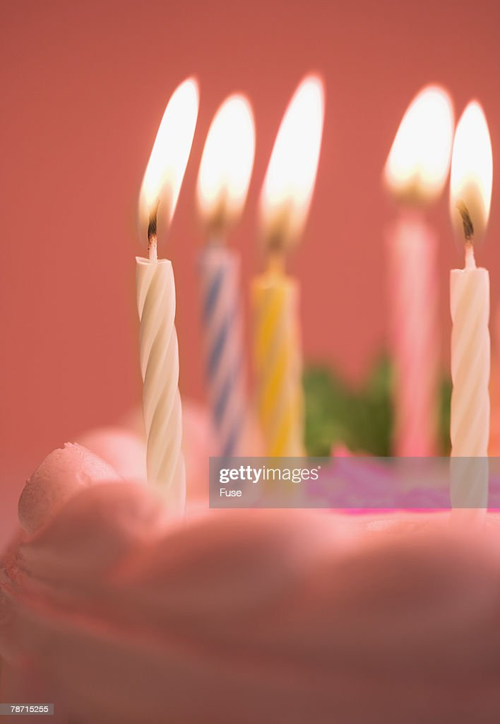 Anniversary Cake With Lit Candles : Stock Photo