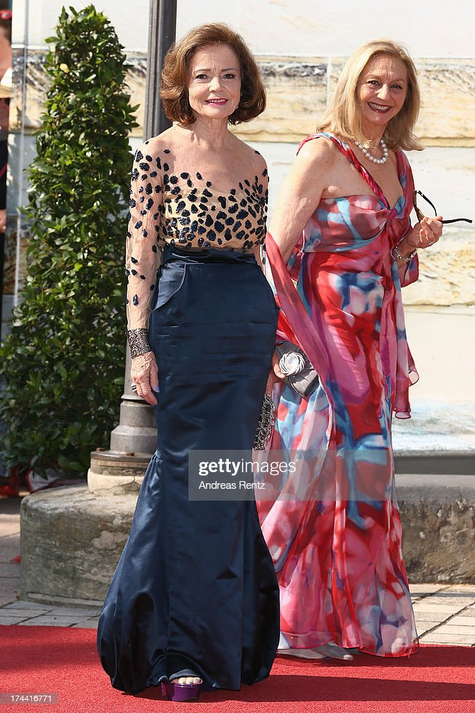 Ann-Kathrin Bauknecht and Anja Heyne attend the Bayreuth Festival opening on July 25, 2013 in Bayreuth, Germany.