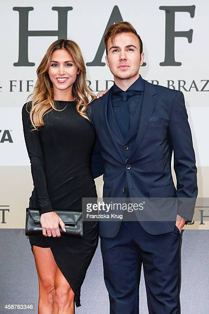 AnnKathrin Broemmel and Mario Goetze attend the 'Die Mannschaft' Premiere at Sony Centre on November 10 2014 in Berlin Germany