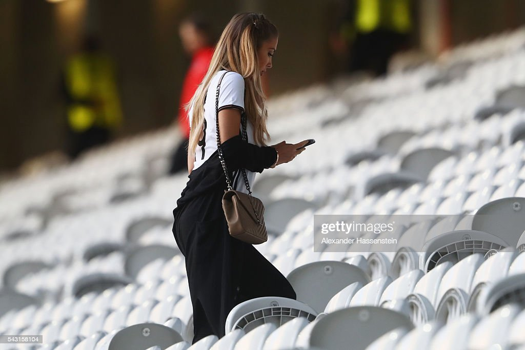 Ann-Kathrin Broemmel leaves after talking with his boyfriend Mario Goetze of Germany after the UEFA EURO 2016 round of 16 match between Germany and Slovakia at Stade Pierre-Mauroy on June 26, 2016 in Lille, France.