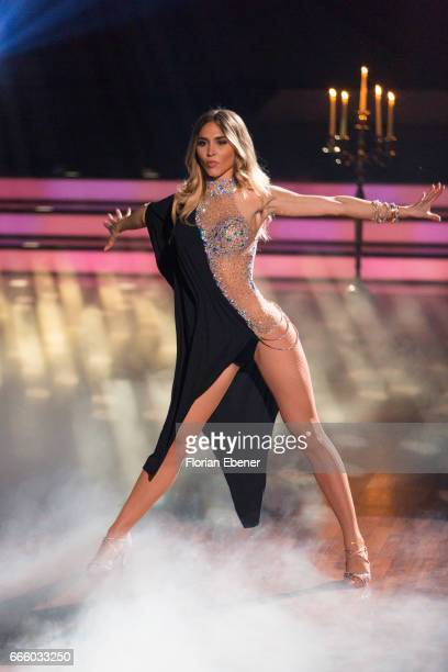 AnnKathrin Broemmel performs on stage during the 4th show of the tenth season of the television competition 'Let's Dance' on April 7 2017 in Cologne...