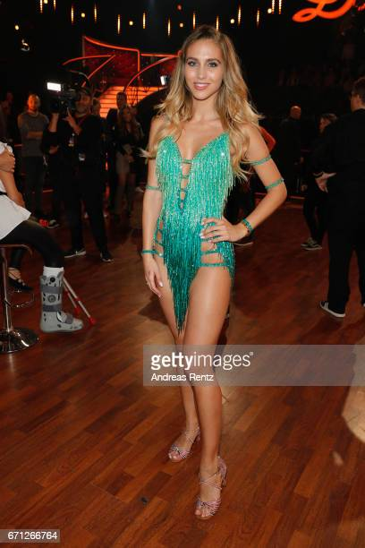 AnnKathrin Broemmel poses after the 5th show of the tenth season of the television competition 'Let's Dance' on April 21 2017 in Cologne Germany