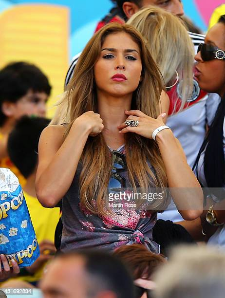 AnnKathrin Brommel girlfriend of Mario Gotze of Germany looks on during the 2014 FIFA World Cup Brazil Quarter Final match between France and Germany...