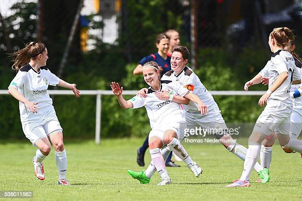 AnnKathrin Goltermann of Guetersloh celebrates her goal with Svenja Hoerenbaum during U17 Girl's German Championship semi final first leg at...