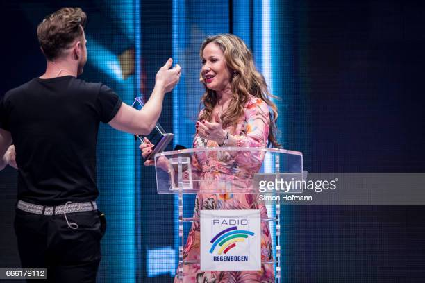 AnnKathrin Kramer and Olly Murs attend the Radio Regenbogen Award 2017 at Europapark on April 7 2017 in Rust Germany