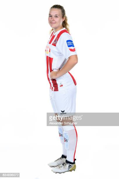 AnnKathrin Vinken of 1 FC Koeln poses during the Allianz Frauen Bundesliga Club Tour at on August 16 2017 in Cologne Germany