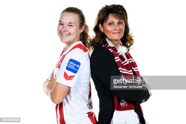 AnnKathrin Vinken of 1 FC Koeln poses with Allianz Insurance manager Bettina Wirz during the Allianz Frauen Bundesliga Club Tour at on August 16 2017...