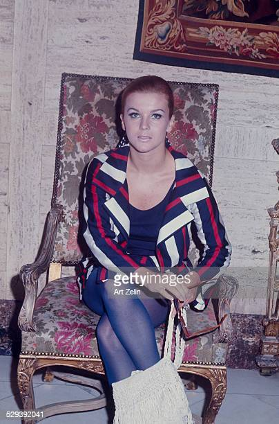 AnnMargret at The Regency Hotel wearing a red white and blue striped jacket circa 1970 New York