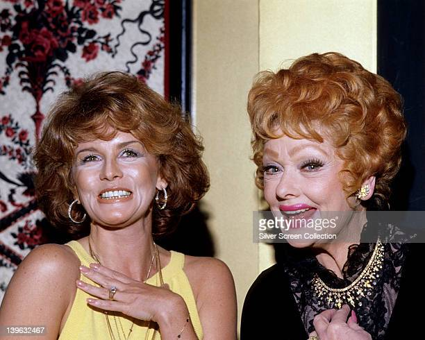 AnnMargret Swedish actress wearing a yellow sleeveless top and Lucille Ball US comedian wearing a black outfit with a gold trim around the neck both...