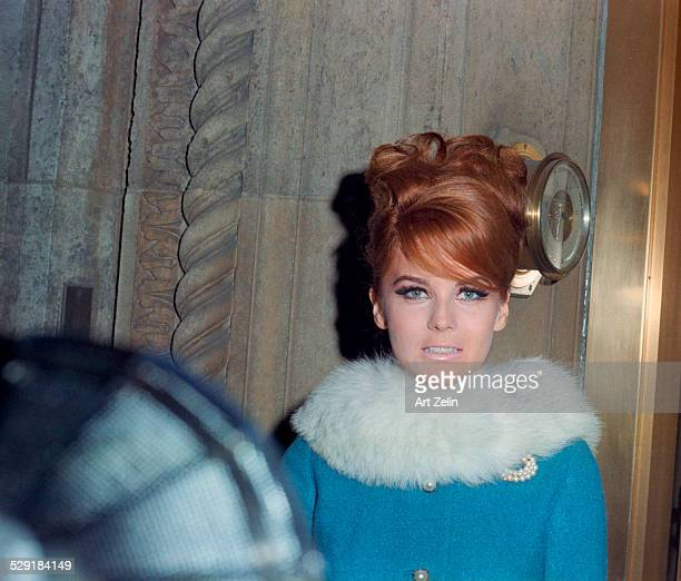AnnMargret wearing a blue coat with white fur collar circa 1970 New York