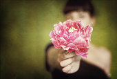 Annonymous girl holding pink flower