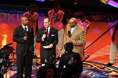 Annoucers Kenny Smith Ernie Johnson and Charles Barkley address the crowd prior to the 2008 TMobile Rookie Challenge Youth Jam at the New Orleans...