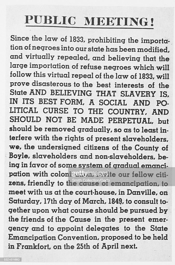 Announcement for a public meeting regarding a discussion to determine the best way to start the process of freeing kept slaves Danville Boyle County...