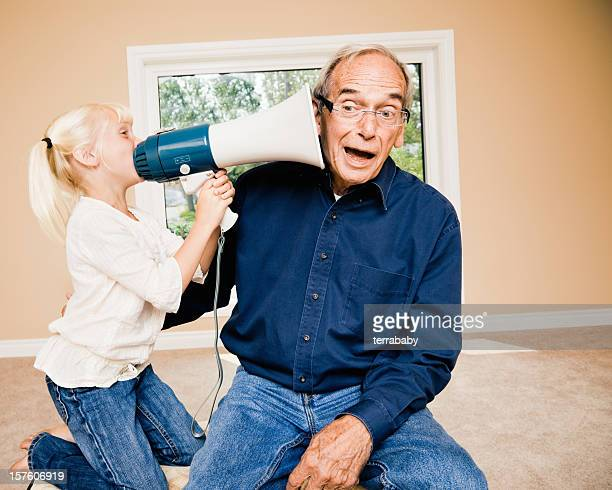 Announcement Little Girl Talking to Deaf Grandpa