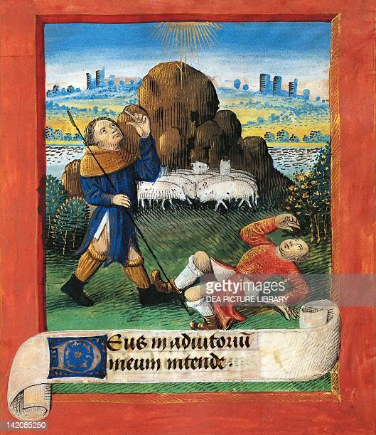 Announcement to the shepherds miniature from the Book of Hours Use of Poitiers Latin and French manuscript attributed to Evrard d'Espinques...