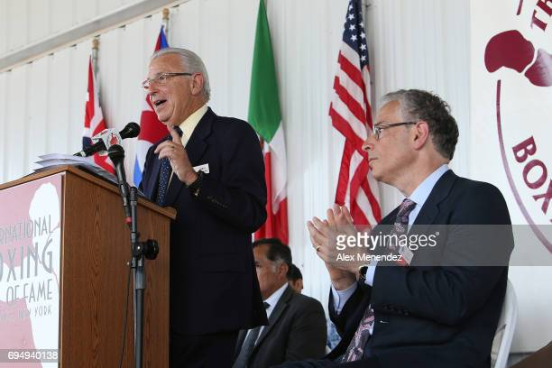 Announcer Barry Tompkins speaks about his induction during the International Boxing Hall of Fame induction Weekend of Champions event on June 11 2017...