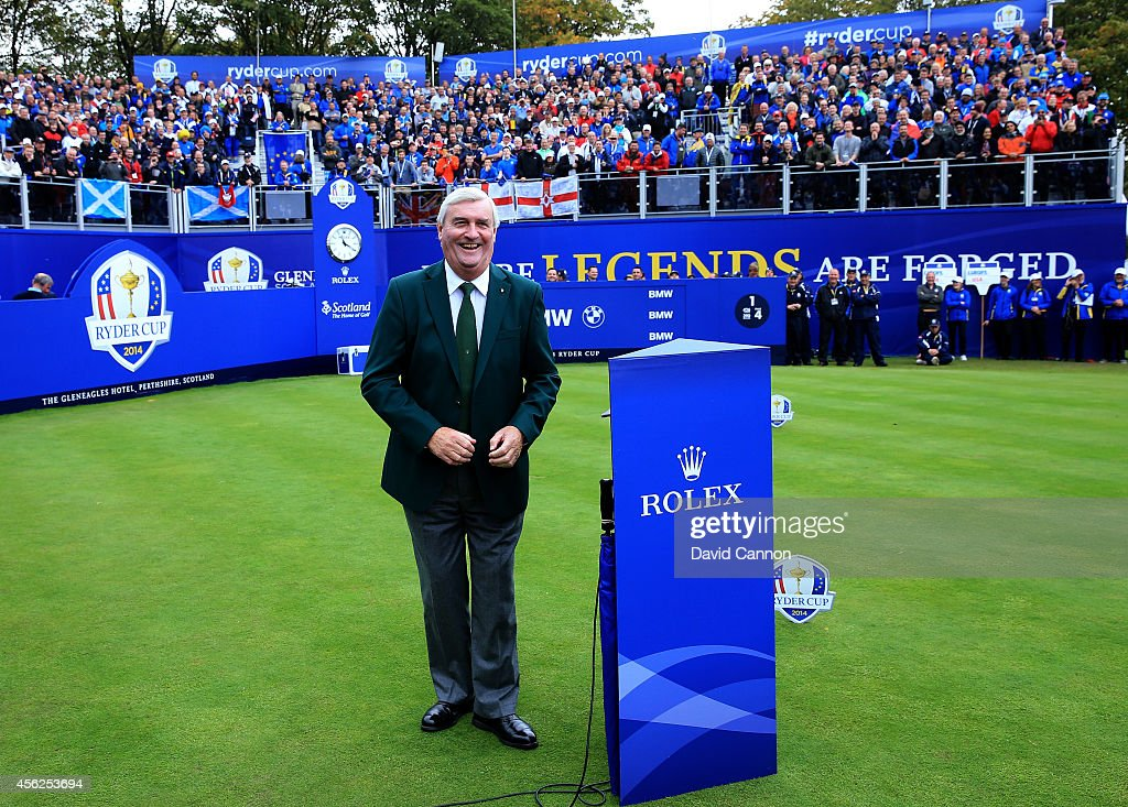 Announcer Ivor Robson stands on the 1st tee during the Singles Matches of the 2014 Ryder Cup on the PGA Centenary course at the Gleneagles Hotel on...