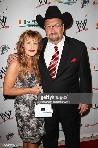 WWE announcer Jim Ross and guest attend WrestleMania Premiere Party A Celebration of Miami Art and Fashion on March 29 2012 in Miami Beach Florida