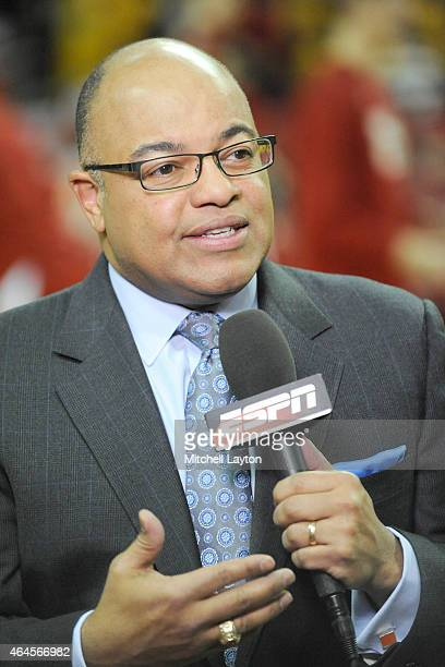 ESPN announcer Mike Tirico on the air before a college basketball game between the Maryland Terrapins and the Wisconsin Badgers at the XFinity Center...