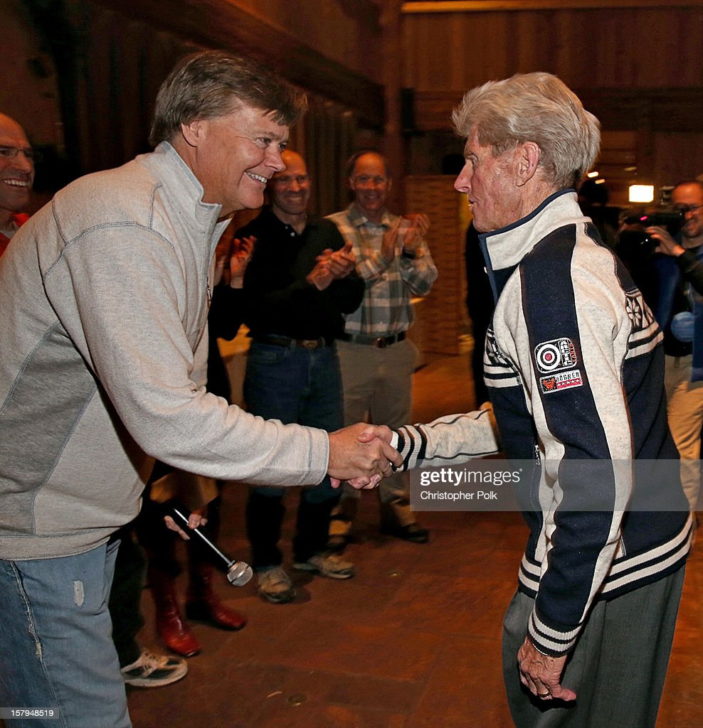 Announcer Tom Gross and Olympic Skier Stein Eriksen attend the Deer Valley Celebrity Skifest at Deer Valley Resort on December 7, 2012 in Park City, Utah.