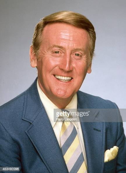 Announcer Vin Scully poses for a portrait in 2002 in Los Angeles California